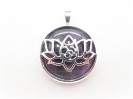 Prachtige lotusbloem hanger met Amethyst
