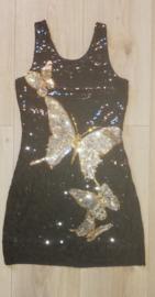 Prachtig dubbelzijdig glitterjurkje zilveren vlinders met gouden randjes maat 36/38