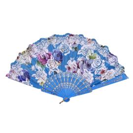 Prachtige handwaaier van stof met grote bloemen turquoise