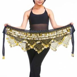 Schitterende fluwelen heupsjaal met heel veel rinkelende gouden kraaltjes en muntjes zwart