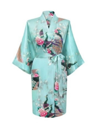 Prachtige dameskimono met pauwen mint