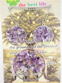 Tree of Life ketting en oorbellenset met Amethyststeentjes in geschenktverpakking