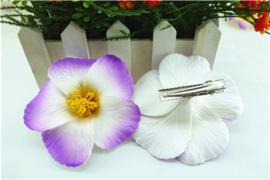 Geweldige Hibiscus Hawaïbloem 9 cm op clip paars met wit