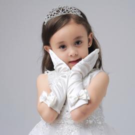 Gala handschoentjes met strik voor meisje 4-8 jaar wit