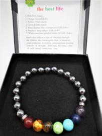 Prachtige armband van geslepen 8 mm Hematiet kralen en 7 chakra kralen