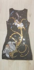Geweldig glitterjurkje met elegante zilveren/gouden bloemen damesmaat S/M