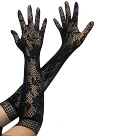 Lange handschoenen meiden/damesmaat zwart kant