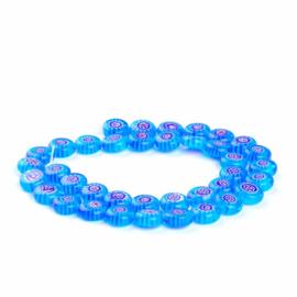 Glaskraal Millefiori blauw/rood 10 mm