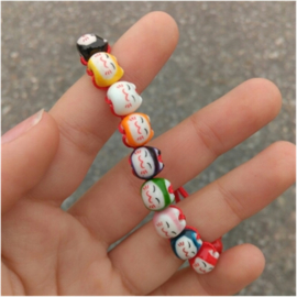 "Verstelbaar kralenarmbandje ""Lucky cat"" rood"