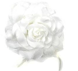 Prachtige grote roos op clip met glitters en veertjes wit