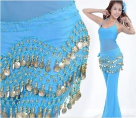 Leuke turquoise chiffon heupsjaal gouden muntjes