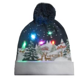 Superleuke Kerstmuts met lichtjes Winterwonderland