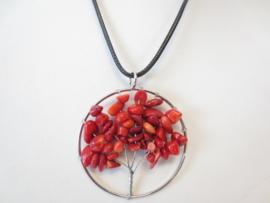 Prachtige amulet ketting Tree of Life Koraal