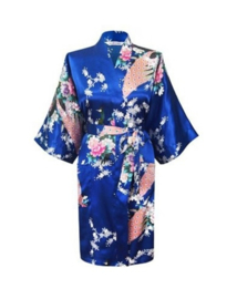 Prachtige dameskimono met pauwen kobaltblauw