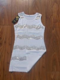 Stijlvol wit glitterjurkje met witte en gouden pailletten