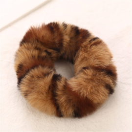 Animal scrunchie lichtbruin/donkerbruin