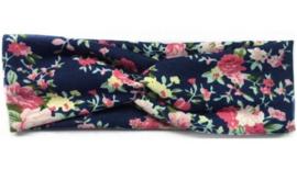 Superleuke knoop haarband donkerblauw met bloemetjes