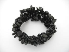 Brede armband Onyx steentjes