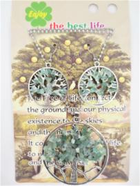 Tree of Life ketting en oorbellenset met Jadesteentjes in geschenkverpakking