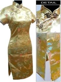 Prachtig gouden chinees damesjurkje draken en phoenix motief