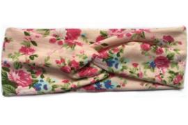 Superleuke knoop haarband roze met bloemetjes