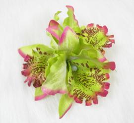 Haarclip/brochespeld driedubbele orchidee groen
