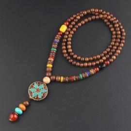 Nepalese geluksketting met rond amulet ster