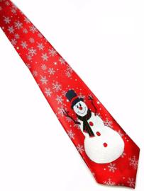 Kerststropdas Sneeuwpop rood