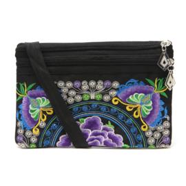 Leuk geborduurd schoudertasje met paarse lotusbloem