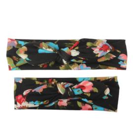 Moeder + dochter setje haarbanden met strik zwart met bloemen