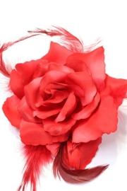 Prachtige roos met veertjes op haarklem rood