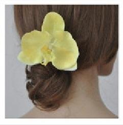 Grote orchidee 10 cm op clip geel
