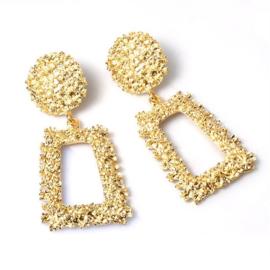 Gouden chunky vierkante statement oorbellen 4,5 cm