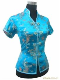 Prachtig turquoise chinees blousje met Chinese voorsluiting drakenmotief