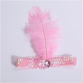 Elastieken pailletten haarband met veer roze