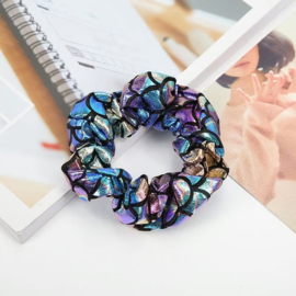 Mermaid patroon blauwpaarse scrunchie!