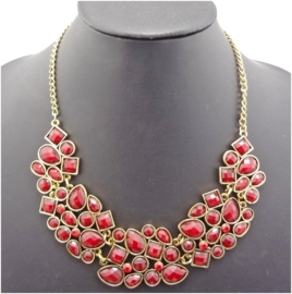 Mooie statement ketting bubble rond rood