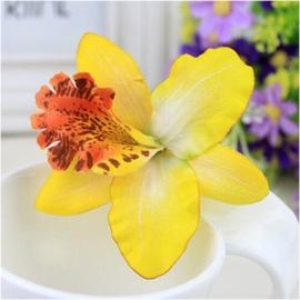 Haarclip enkele orchidee geel