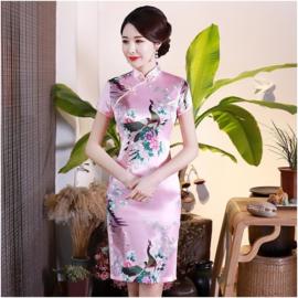 Bijzonder leuk Chinees pauwenjurkje roze