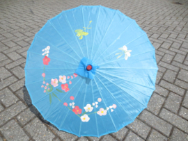 Blauwe bamboe handbeschilderde parasol 85 cm