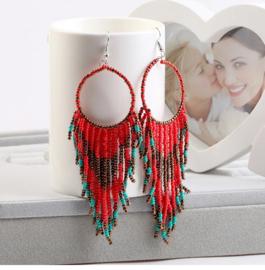 Prachtige Bohemian oorbellen kleine kraaltjes rood 10 cm