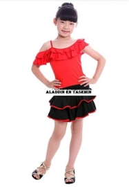LATIN SALSA danssetje rokje met roezeltopje zwart met rood