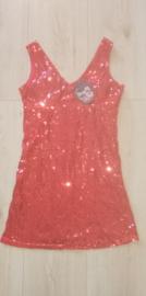 Fantastisch rood glitterpailletten jurkje alleen nog  38/40