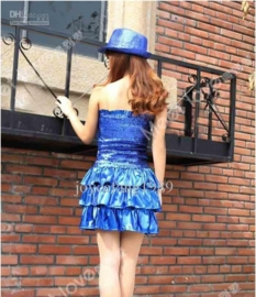 Elastieken glitterjurkje met glans strokenrokje kobaltblauw maat 146/152/158