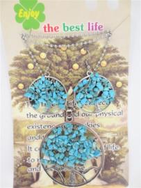 Tree of Life ketting en oorbellenset met Turkooissteentjes in geschenktverpakking
