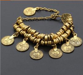 Prachtige BOHO dubbele armband / enkelband met muntjes goud