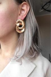 Gouden chunky dubbelronde statement oorbellen 5 cm