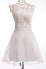 Prachtig wit one-shoulder jurkje met schouderbandje van kant XS/S
