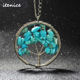 Prachtige metalen amulet ketting Tree of Life Turkoois