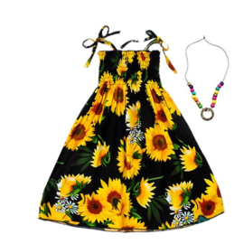 Superleuk zomerjurkje zwart met zonnebloemen + ketting